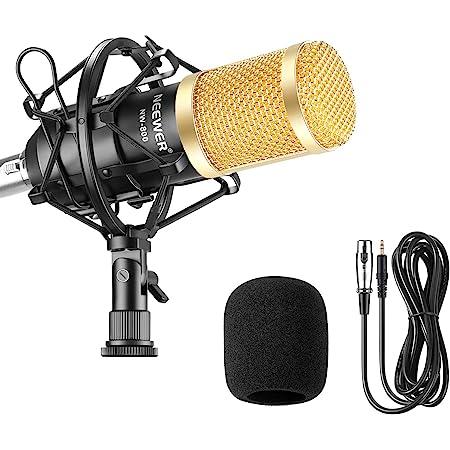 Neewer® NW-800 プロ コンデンサーマイクセット スタジオ放送・レコーディング用セット内容:(1)NW-800コンデンサーマイク(ブラック)+(1)マイク ショックマウント+(1)マイク風防+(1)マイク ケーブル ブラック(黒い)