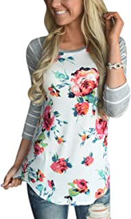 Nlife Women Fashion Striped 3/4 Sleeve Floral Print Shirt Blouse Tops