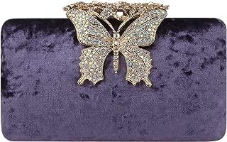Fawziya Butterfly Clutch Crystal Velvet Clutches & Evening Bags
