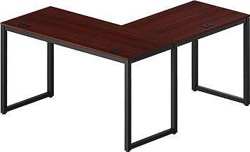 "SHW Home Office 55""x60"" Large L Shaped Corner Desk, Black Cherry"