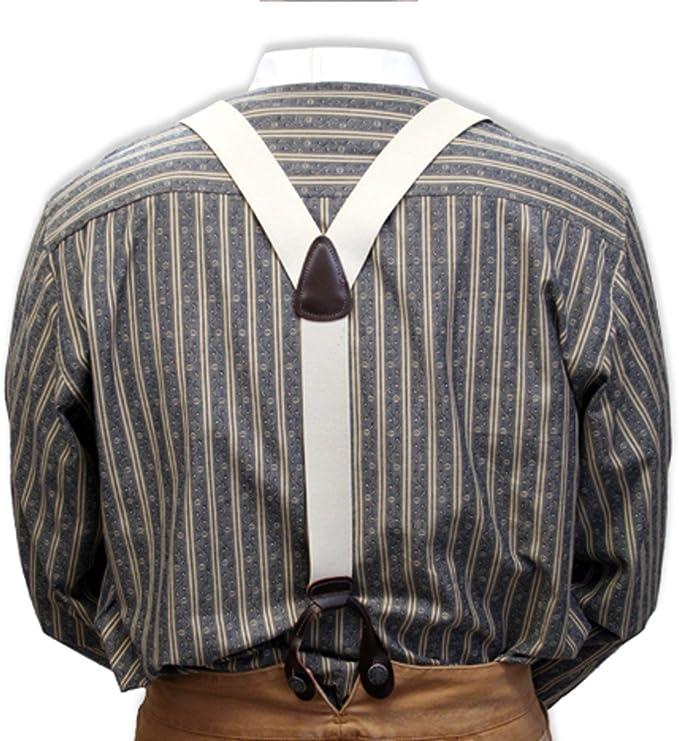Edwardian Men's Accessories Historical Emporium Mens Elastic Y-Back Button End Suspenders  AT vintagedancer.com