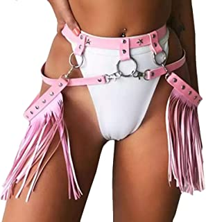 Women Rave Consume Tassel Body Harness Waist Belt Bondage Fringe Skirt for Concert Music Festival Dance Party Pink