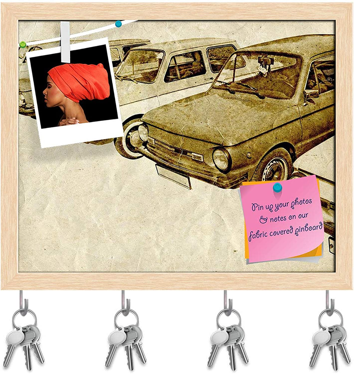 Artzfolio Vintage Car D14 Key Holder Hooks   Notice Pin Board   Natural Brown Frame 19.9 X 16Inch