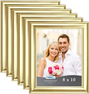 Icona Bay 8x10 Picture Frame (6 Pack, Gold), Gold Photo Frame 8 x 10, Wall Mount or Table Top, Set of 6 Elegante Collection