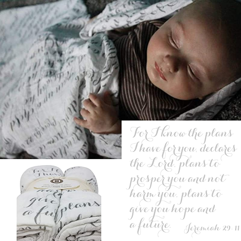 Scripture Strong Jeremiah 29 11 Best Muslin Baby Swaddle Blanket Gift Set 100 Cotton Receiving Blankets Extra Large 4 X4 Gray 2 Pack