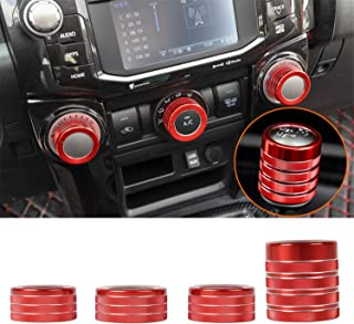 ZTYCKJ Red Gear Shifter Knob Stick Head Lever Cover Trim Air Conditioning AC Switch Button Decorative Cover for Toyota 4Runner TRD Pro Offroad Car Styling Accessoies 2010-2019 2018 (4PCS Red)