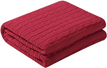 uxcell Cotton Cable Knit Throw Blanket Super Soft Throw Couch Covers Decorative Knitted Blankets for Sofa Bed, Red Throw(47