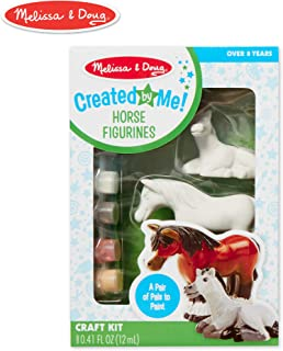 Melissa & Doug Decorate-Your-Own Horse Figurines Craft Kit (Includes 2 Resin Horses, 6 Pots of Paint, Paintbrush)