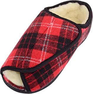 Absolute Footwear Womens Open Toe Tartan Style E Wide Fitting Slipper/Booties/Shoes