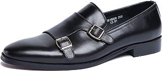 Chaussures Monk hommes,Chaussures Robe de mariée banquet Chaussures en cuir d'affaires Boucle simple Chaussures Pointu,Bla...