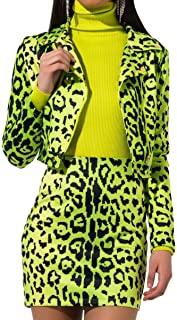 Women's Digital Leopard Print Neon High Waist Mini Skirt