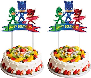 2 Pieces PJ Masks Cake Toppers for Kids Birthday Cake Decorations