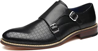 Mens Double Monk Strap Slip on Loafer Cap Toe Leather Oxford Formal Business Casual Comfortable Dress Shoes for Men