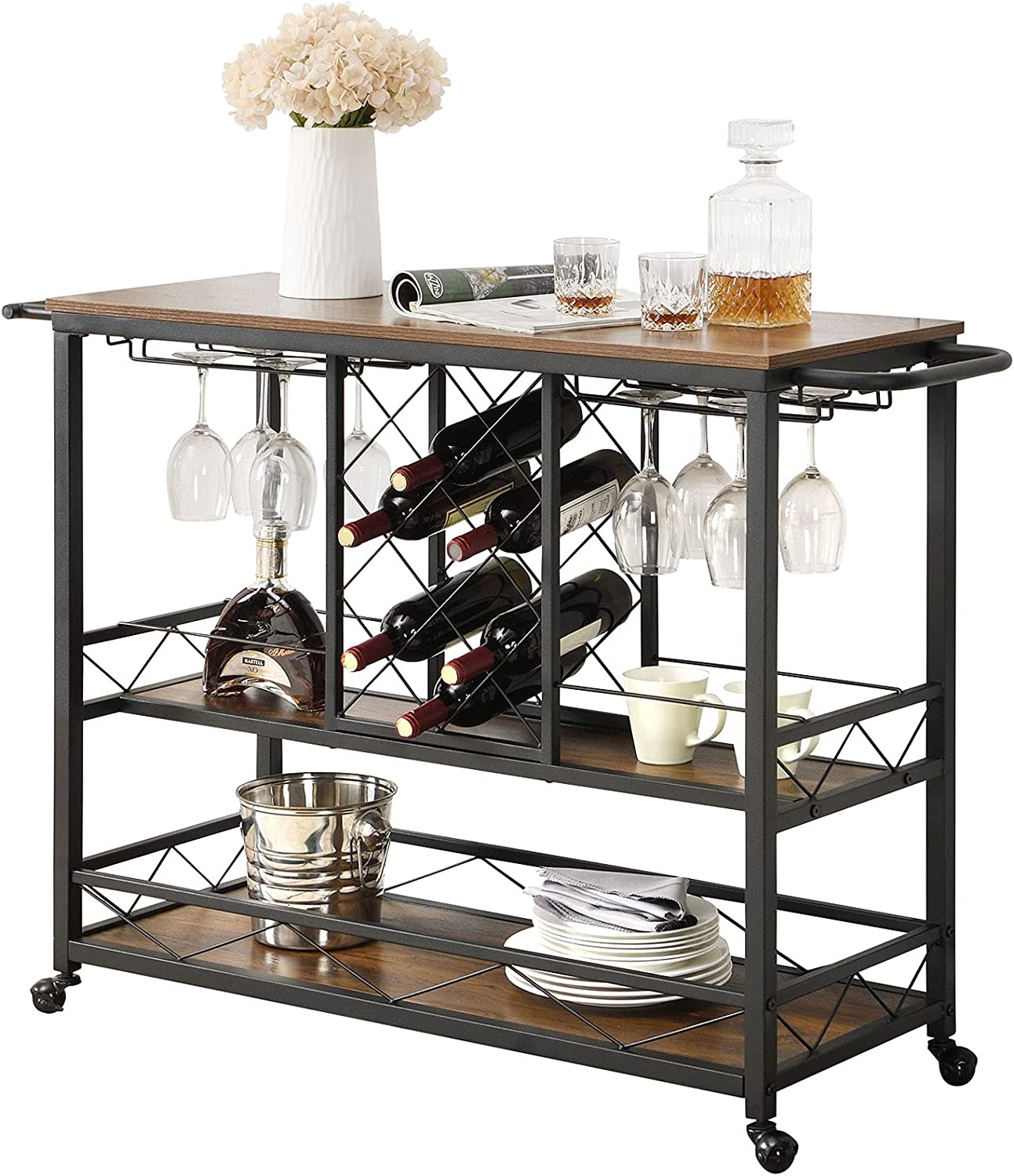 ASYA Industrial Bar Cart for Home with Wine Rack and Glass Holder, 3-Tier Rolling Kitchen Serving Cart with Wheels and Handles, Mini Bar Cabinet, Retro Brown