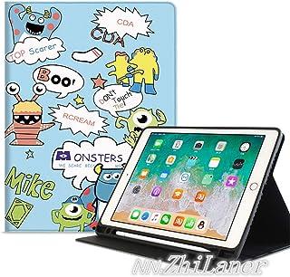 NN.NN.Zhilaner ipad pro11 ケース 2018 apple pencil収納 ipad 9.7 ケース ペンシル iPad 2019 10.5インチ ケース かわいい iPad air3 ケース 10.5インチ ipad mini4 ケース ipad mini5 ケース pencil収納付き iPad第五世代 ケース ipad第六世代 ケース アイパッドA1893 A1954 2018 9.7 ケース ipad 9.7インチ ケース iPadair1 iPadair2 iPadair3ケース ipad 9.7 ケース 2018 apple pencil収納 手帳型 ipad プロ11 ケース 二つ折り オートスリープ機能付き スタンド 耐衝撃 タブレットケース ペンホルダー付き 面白い キャラクター 子供 人気 おしゃれ ブルー系 ホワイト系