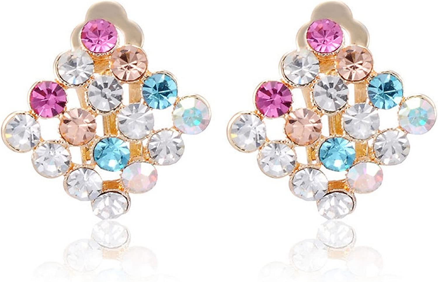 Firewings 18k Yellow Gold Plated Multi-Color CZ Clip On Earrings