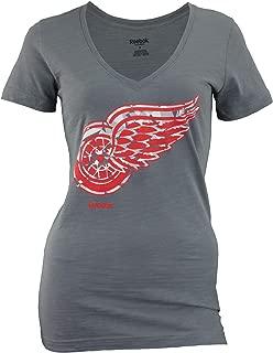 NHL Women's Detroit Red Wings Ice Shatter Logo Slub V-Neck
