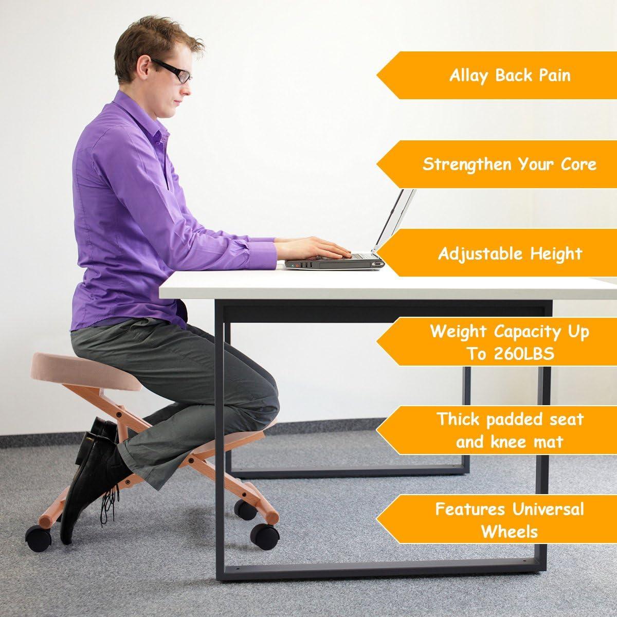 Casart Ergonomischer Kniestuhl, verstellbarer Holzrahmen, Kniehocker, Home Office, Orthopädische Haltungsstühle beige Beige