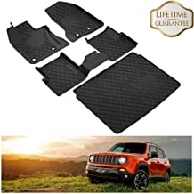 KIWI MASTER Floor Mats & Cargo Liners Set Compatible for 2015-2019 Jeep Renegade Accessories Front Rear Slush Mat Liner Black All Weather Protector