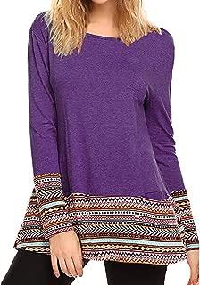 Kulywon Women Fashion Long Sleeve Pocket Printed Patchwork Blouse Tops Clothes T Shirt