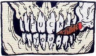 Toppa ricamata da applicare con ferro da stiro o cucitura, tema: Cranio che fuma