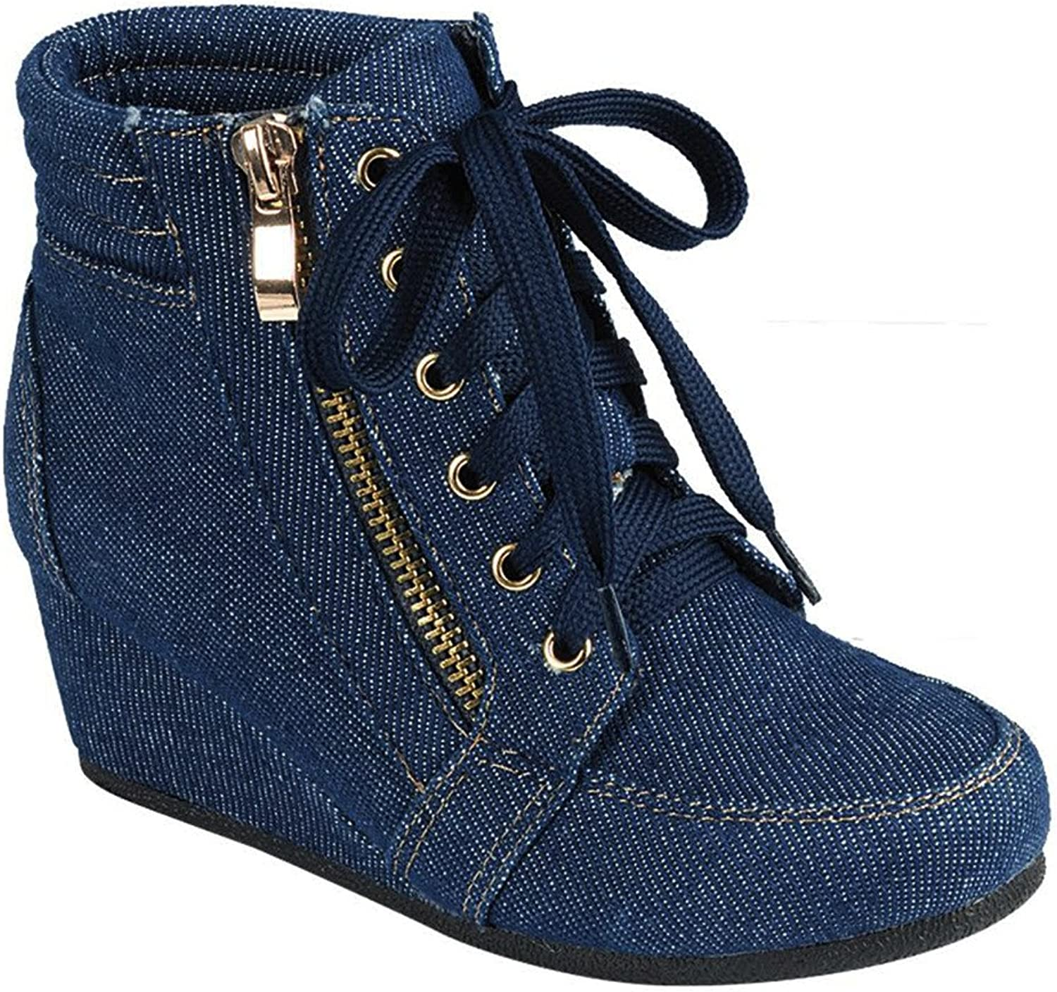 Women High Top Wedge Heel Sneakers Platform Lace Up shoes Ankle Bootie, Size 6.5, bluele Jean