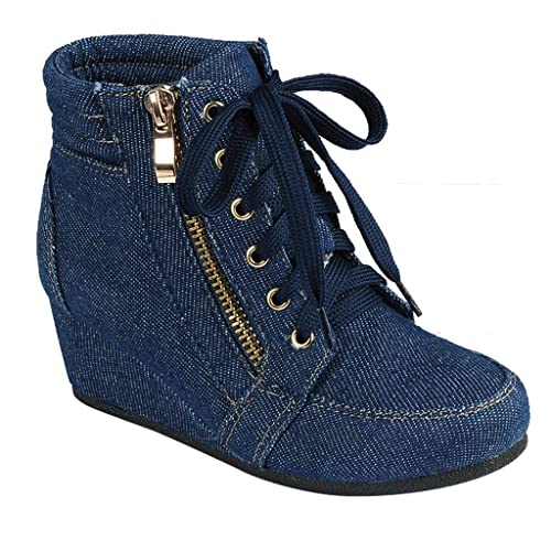 0e297913aa70 SNJ Women High Top Wedge Heel Sneakers Platform Lace Up Shoes Ankle Bootie  Trends