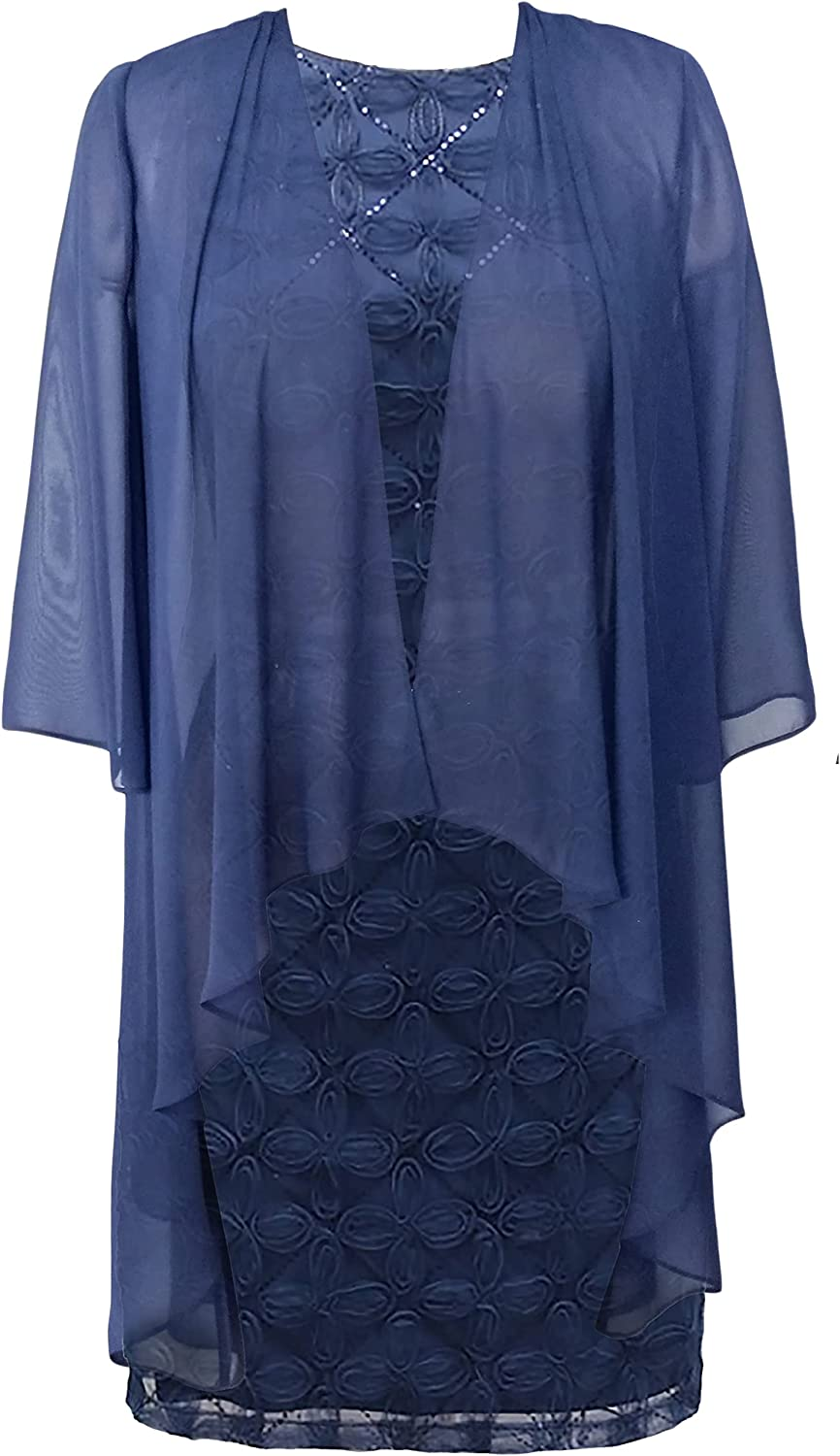 S.L. Fashions Women's Chiffon Tier Jacket Dress with Bead Neck-Close Out