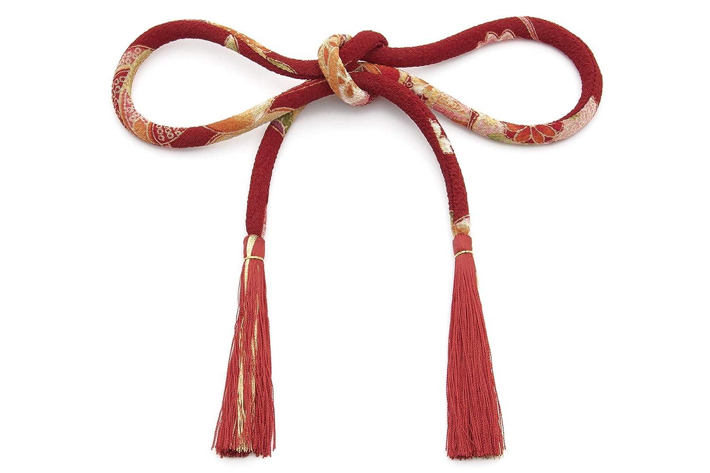 (ソウビエン) 髪飾り 成人式 卒業式 赤 菊 桜 鹿の子 花 和柄 丸ぐけ 紐長め ちょい足し 房飾り 帯飾り 浴衣 七五三 日本製