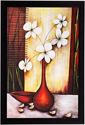 eCraftIndia 'White Flowers and Vase' UV Art Painting (Synthetic Wood, 36 cm x 51 cm, Matt Textured)
