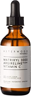 MATRIXYL 3000 + ARGIRELINE Peptide + Vitamin C 2 oz Serum with Organic Hyaluronic Acid, Reduce Sun Spots, Wrinkles, Our Most Powerful Triple Combination ASTERWOOD NATURALS Bottle