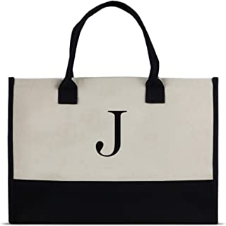 Monogram Tote Bag with 100% Cotton Canvas and a Chic Personalized Monogram (Black Block Letter - J)