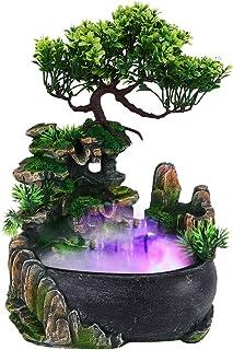 Fontaine a Eau Decorative, Mini Fontaine d'Intérieur avec Changement De Couleur Éclairage LED , Fontaine à Eau Intérieur R...