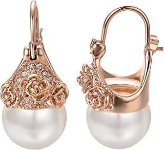 Yoursfs 18K Plated Rose Gold Pearl Drop Earrings for Women CZ Crystal Rose Flower Clip On Earrings