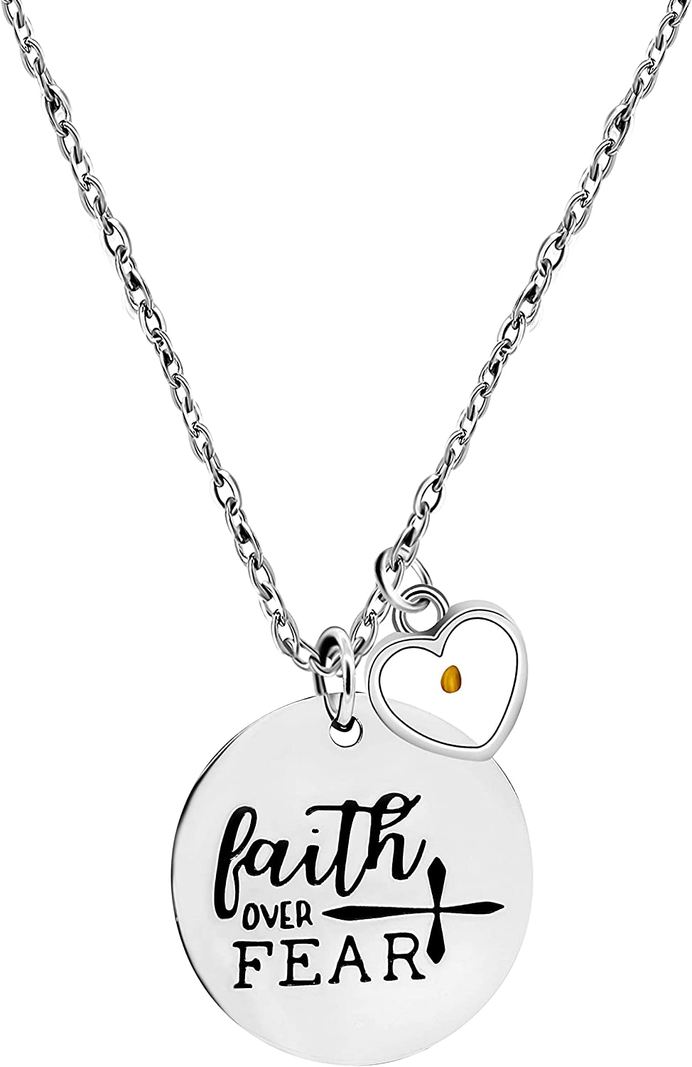 Omaha Mall Stainless Steel Christian Faith Necklaces Lettering Mustard Seed Sales