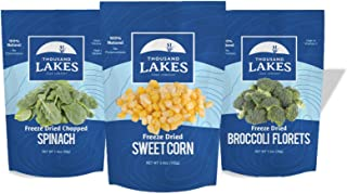 Thousand Lakes Freeze Dried Fruits and Vegetables - Sweet Corn, Broccoli Florets & Spinach 3-pack | 100% Veggies | No Salt...