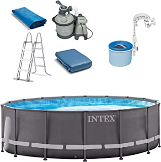 Intex 16ft x 48in Ultra Frame Swimming Pool Set & Pool Surface Automatic Skimmer