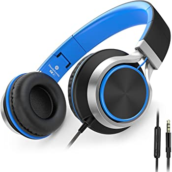 AILIHEN C8 Wired Headphones with Microphone and Volume Control Folding Lightweight Headset for Cellphones Tablets Chromebook Smartphones Laptop Computer PC Mp3/4 (Black/Blue)