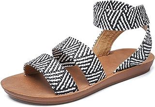 gracosy Sandales Femmes Plates Été, Nu-Pieds Mode en Cuir PU Chaussures d'été Zébré Bout Ouvert à Enfiler Talon Plat Tongs...