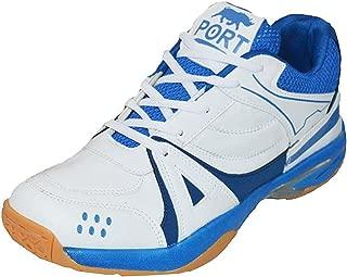 Port Sports PU White Badminton Shoes