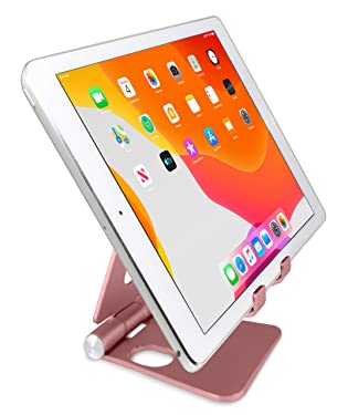 """Aduro U-Rise XL Adjustable Aluminum Tablet Stand iPad Holder Foldable Phone Stand Compatible with iPhone iPad Pro 11, 9.7, 10.5 Air Mini 4 3 2, Nexus, Tab, E-Reader (4-12"""") Rose Gold"""