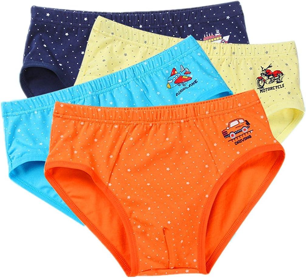 Boys' Briefs Stars and Wave Point Short Underwear Cotton Pack of 4