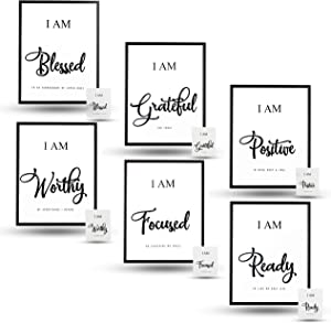 INSPIRATIONAL WALL ART | BLACK & WHITE MOTIVATIONAL DECOR | 6 in SET | PICTURES FOR LIVING ROOM | WALL DECOR FOR BEDROOM | POSITIVE QUOTES | AFFIRMATIONS | OFFICE DECOR FOR WOMEN, MEN | 8x10| UNFRAMED