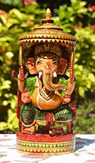 CraftVatika Beautiful Wooden Ganesha Statue- Perfect Diwali Gift- Meenakari Handpainted Traditional Hindu Lord Ganesh Scul...