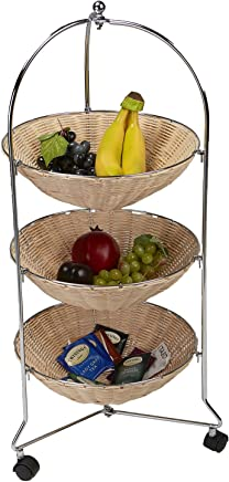 Mind Reader Mobile Kitchen Cart,  Kitchen Island,  Utility Cart,  with 3 Removable Baskets