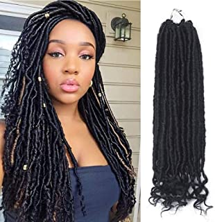 6Packs 20'' Dreadlocks Braiding Hair Goddess Locs Crochet Hair Braids Prelooped Straight Faux locs with Curly Ends Soft Kanekalon Synthetic Hair Extensions 1B