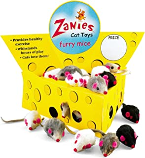 """Pet Edge Zanies Cheese Wedge Display Box with 60 Furry Mice Toys for Cats – Mouse Measures 3"""" in Length Including Tail"""