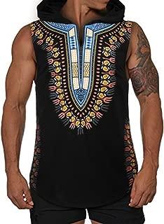 COOFANDY Mens African Print Dashiki Hooded Fashion Sleeveless Tank Top T Shirts