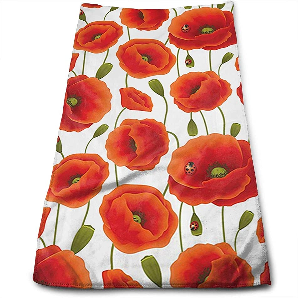 Funlery Happ Comfor Cotton Floral Pattern of Poppy Flowers Dish Towels,Oversized Kitchen Towels for Drying,Cleaning,Cooking,Baking 3070CM/12 X 27.5 In