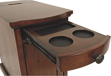 Signature Design by Ashley Laflorn Traditional Chair Side End Table with 2 USB Ports & Outlets, Medium Brown